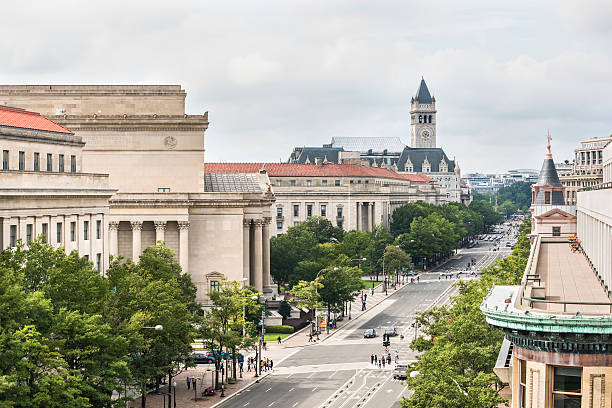 aerial view of old post office - donald trump us president стоковые фото и изображения