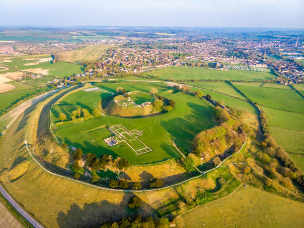 Aerial view of Old Sarum in England stock photo