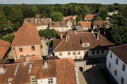 Aerial view of old town in city Kuldiga and red roof tiles, Latvia