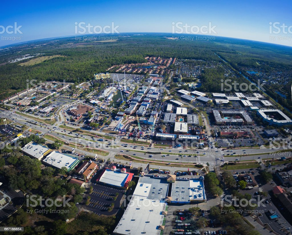 Aerial view of Old Town in Kissimmee Florida stock photo