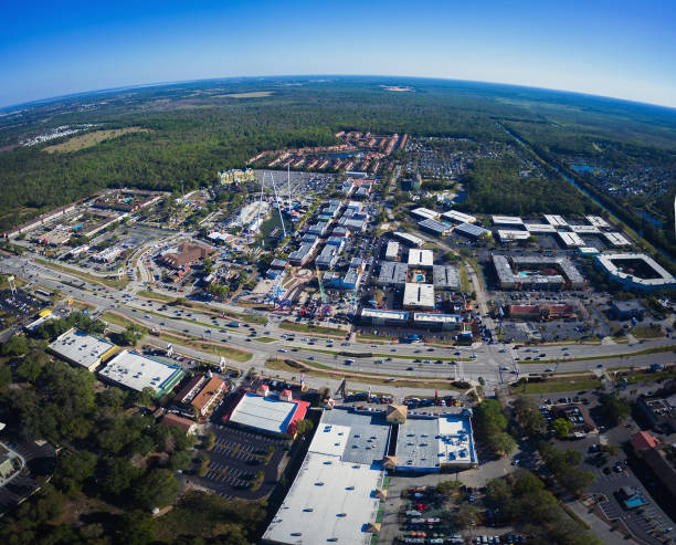 aerial view of old town in kissimmee florida - kissimmee stock photos and pictures