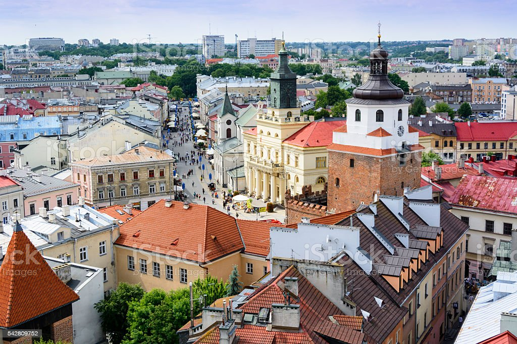 Aerial view of old town in Lublin stock photo