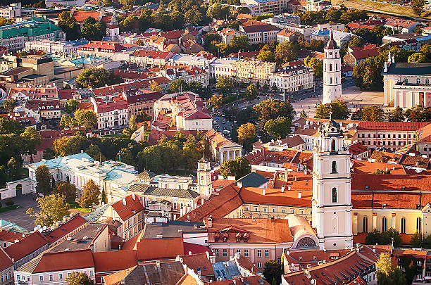 Aerial view of Old Town in Vilnius, Lithuania stock photo