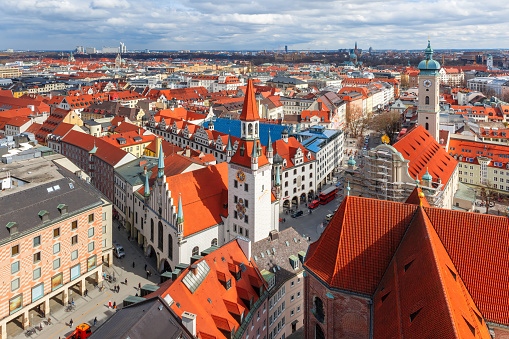 Aerial view of Old Town, Munich, Germany