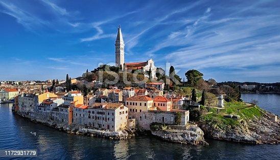 High up view of Rovinj, Istria, Croatia.