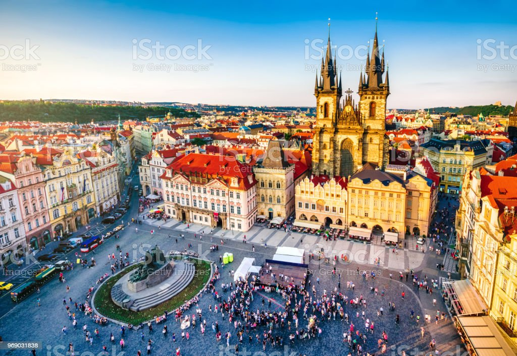 aerial view of old town square in Prague aerial view of old town square in Prague at sunset. Czech Republic Aerial View Stock Photo
