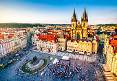 aerial view of old town square in Prague at sunset. Czech Republic