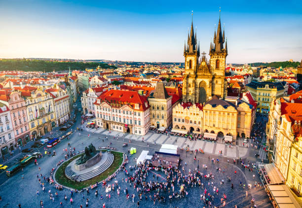 aerial view of old town square in Prague aerial view of old town square in Prague at sunset. Czech Republic prague stock pictures, royalty-free photos & images