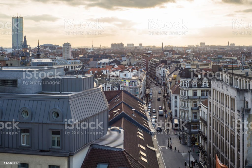 Aerial view of old worker's district Marolles in Brussels stock photo