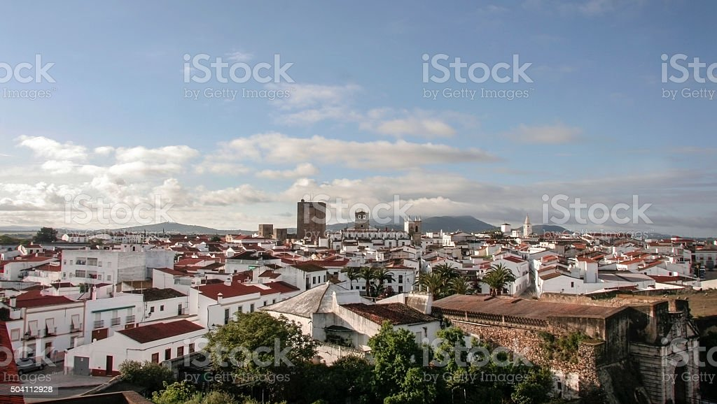 Aerial view of Olivenza Town, Spain stock photo