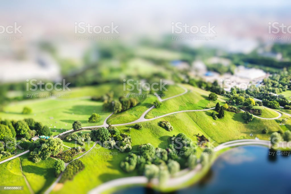 Aerial view of Olympiapark and Munich from Olympiaturm stock photo