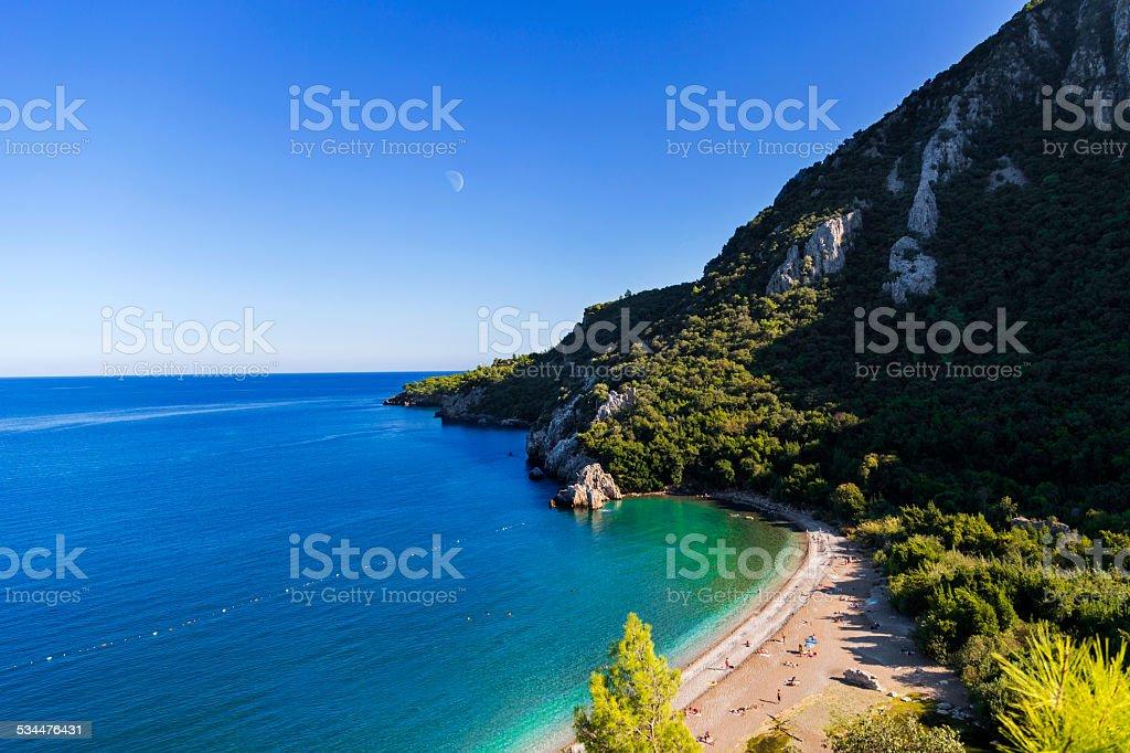 Aerial view of Olympos beach, Turkey stock photo