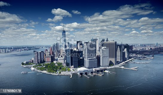 One World Trade Center and Lower Manhattan, NYC.