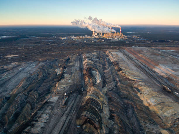 Aerial view of open-cast coal mine Belchatow, Poland stock photo