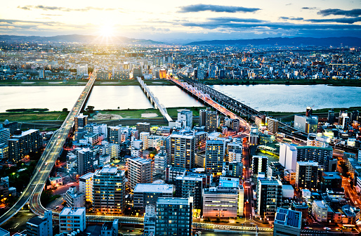 Aerial view of Osaka Skyline