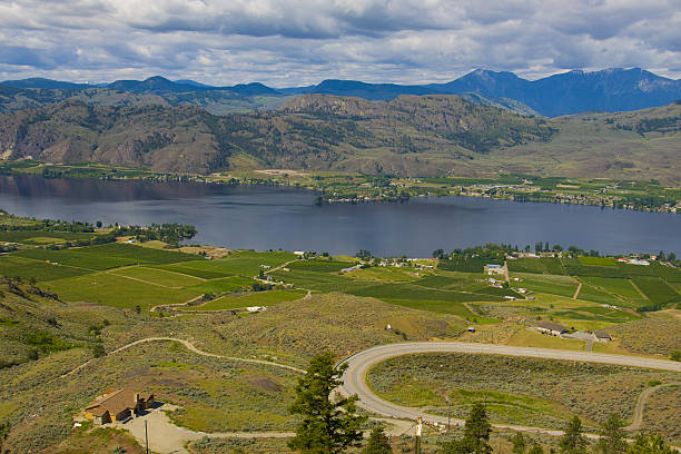 Aerial view of Osoyoos Wine Valley stock photo