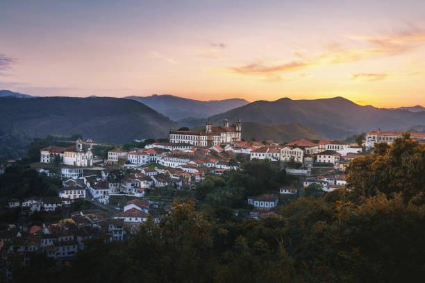 Aerial view of Ouro Preto City at sunset - Minas Gerais, Brazil stock photo
