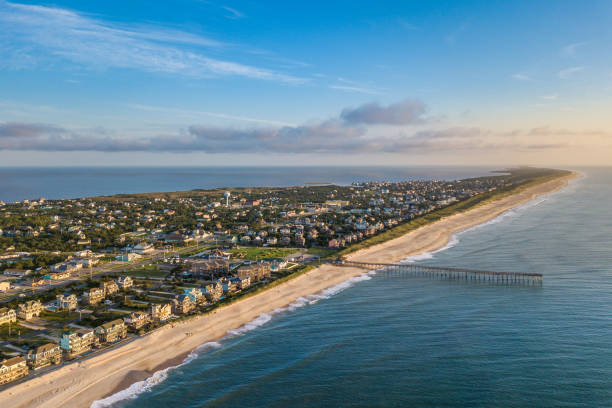 Aerial view of Outer Banks North Carolina stock photo