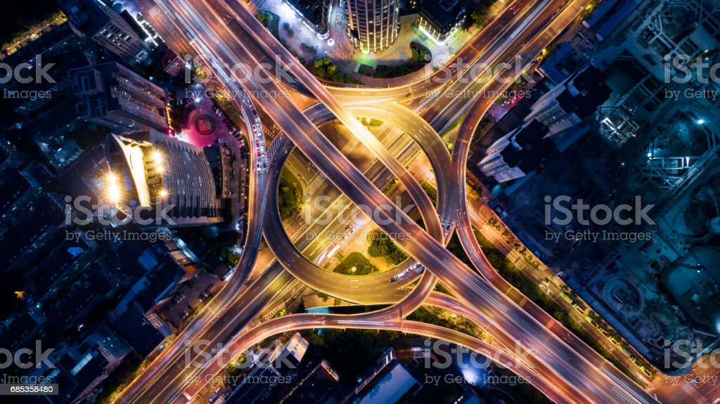 Aerial view of overpass at night stock photo