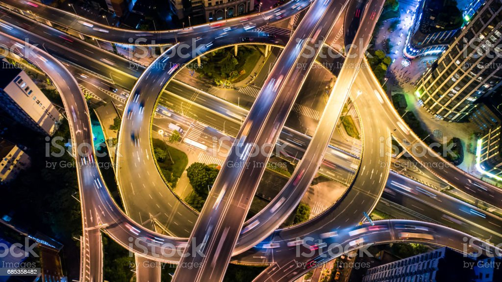 Aerial view of overpass at night royalty-free stock photo