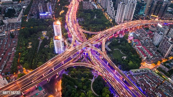 istock Aerial view of overpass at night 687116732