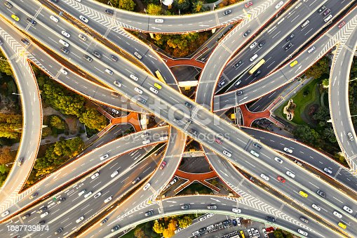 istock Aerial view of overpass, shanghai china 1087739874