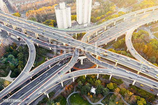 istock Aerial view of overpass, shanghai china 1087739880