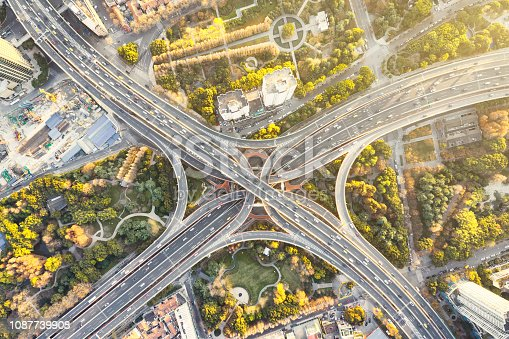 istock Aerial view of overpass, shanghai china 1087739908