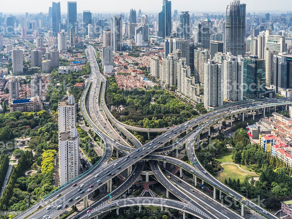 Aerial view of overpass, shanghai china stock photo