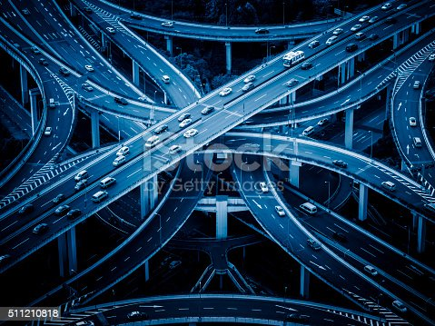 istock Aerial view of overpass, shanghai china 511210818