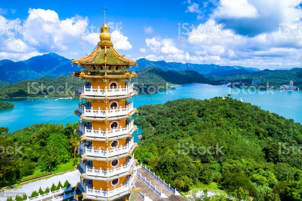 Aerial view of Pa Cien Pagoda with Ita thao pier background in Nantou