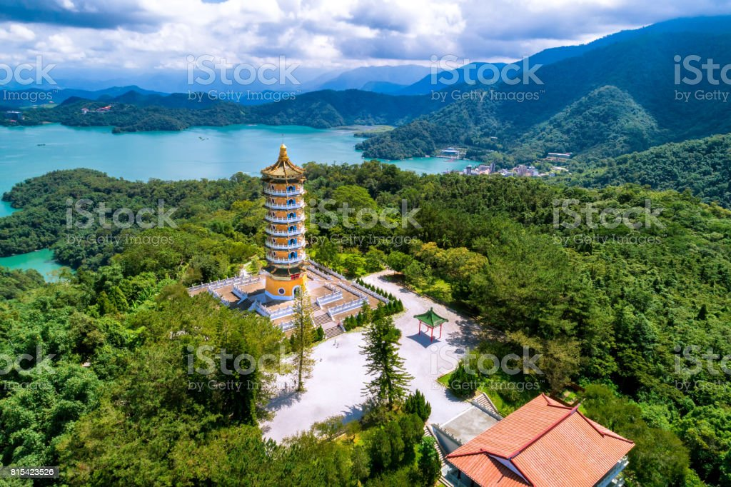 Aerial view of Pa Cien Pagoda with Ita thao pier background in Nantou stock photo