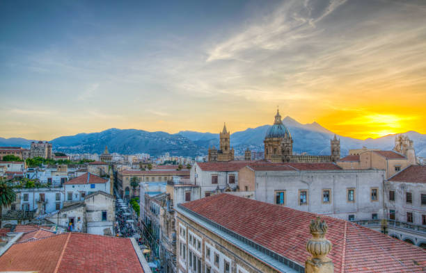 aerial view of palermo dominated by the cathedral, sicily, italy - palermo città foto e immagini stock