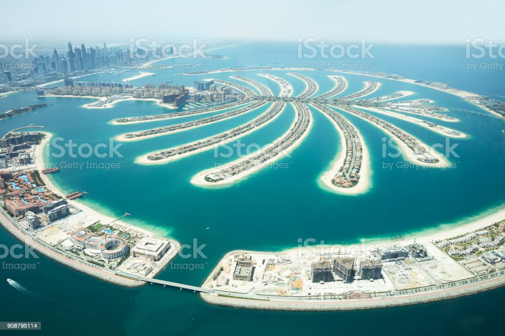 Aerial View Of Palm Island In Dubai stock photo