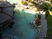 Aerial view of palm trees by a swimming pool with bar