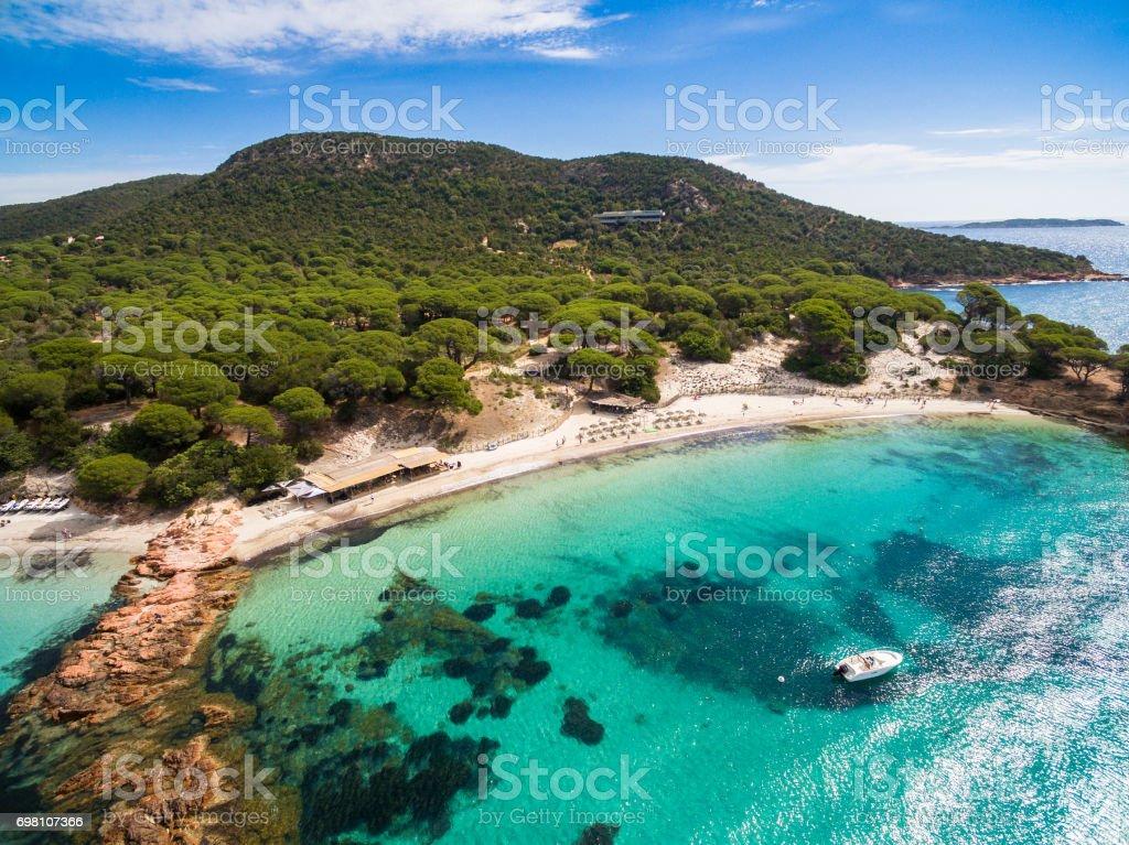 Vista aérea de Palombaggia beach en la isla de Córcega en Francia - foto de stock