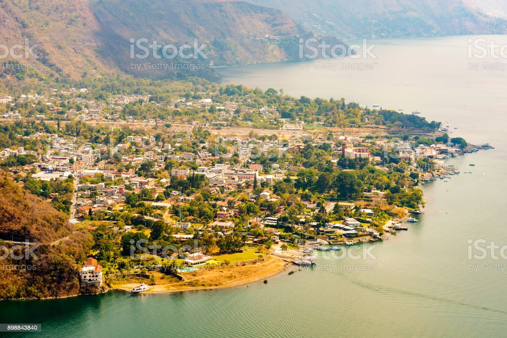 Aerial View Of Panajachel Guatemala stock photo