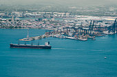 Aerial view of Panama industrial port on the Atlantic side.