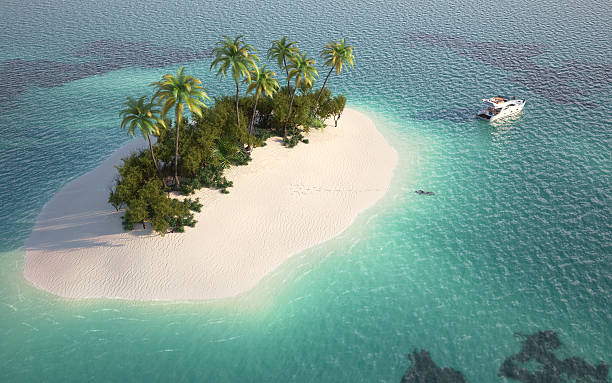 aerial view of paradise island - desert island stock photos and pictures