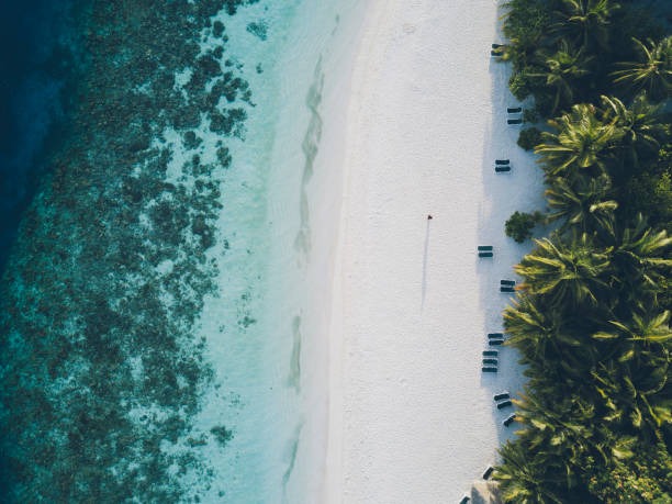 Aerial view of paradisiac island in Maldives stock photo