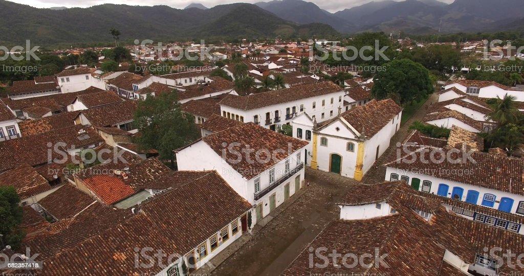 Vista aérea de Paraty, Rio de Janeiro, Brasil foto de stock libre de derechos