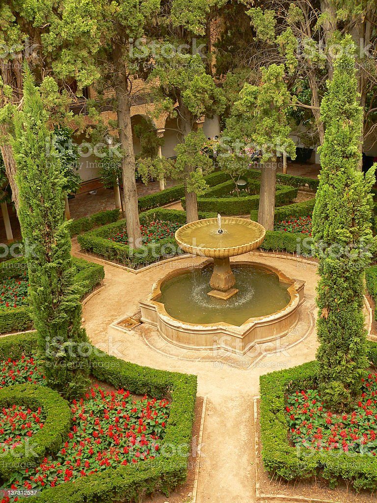 Aerial view of parc in Alhambra royalty-free stock photo