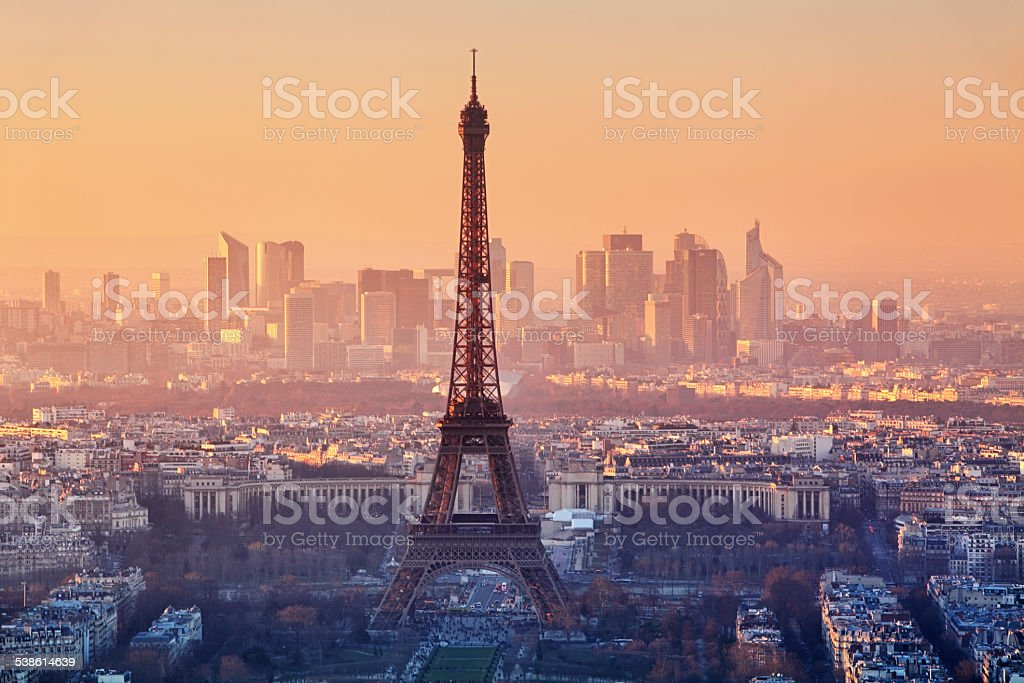 Aerial view of Paris at sunset stock photo