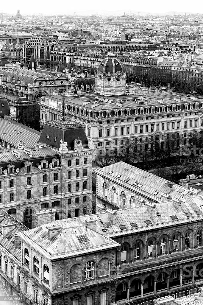 Aerial View of Paris. Black and White stock photo