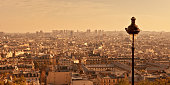 Aerial view of Paris from Montmartre hill at sunset, France