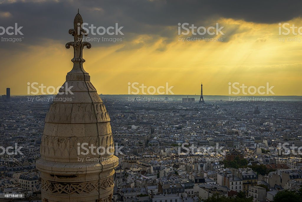 Aerial View of Paris from Sacre-Coeur stock photo