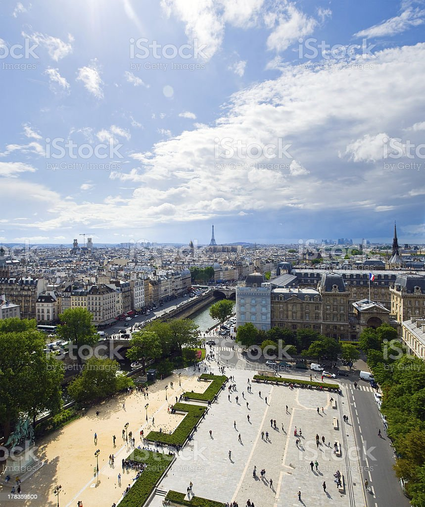Aerial view of Paris from the towers Notre Dame royalty-free stock photo