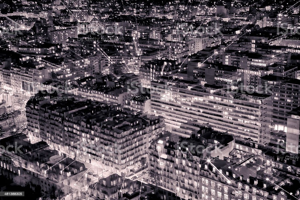 Aerial View of Paris in the Night. Black and White stock photo