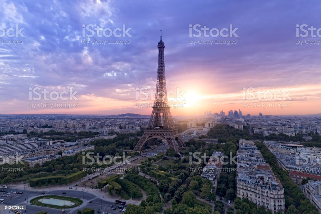 Aerial View Of Paris Skyline With Eiffel Tower During Sunset Stock Photo Download Image Now Istock