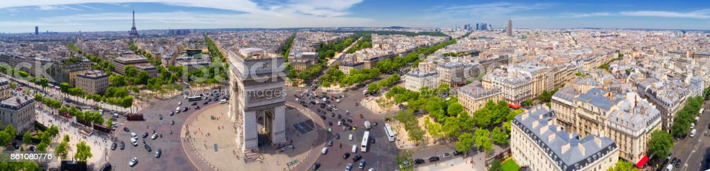 Aerial view of Paris with Arc de Triomphe and Eiffel tower stock photo